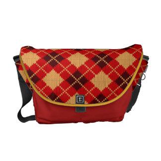 Red Burgundy Plaid Messenger Bag