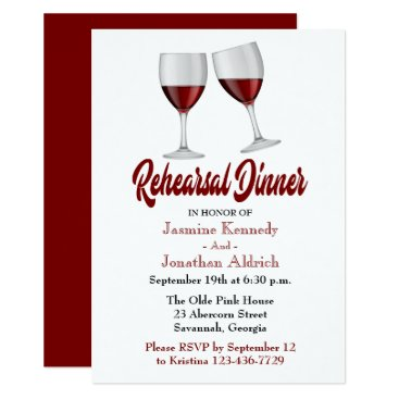 merrybrides Red Burgundy Rehearsal Dinner Wine Glasses Wedding Card