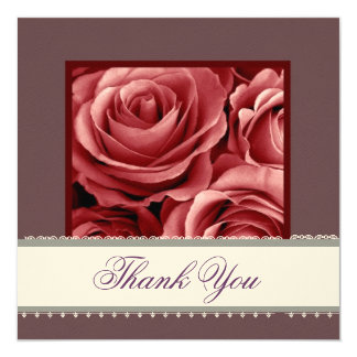 RED & BURGUNDY Rose Lace Ribbon Wedding Thank You Card