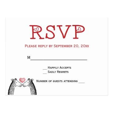 merrybrides Red Burgundy RSVP Giraffe Wedding  Love Postcard
