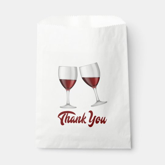 Red Burgundy Thank You Wine Glasses Wedding Favor Bag Zazzle