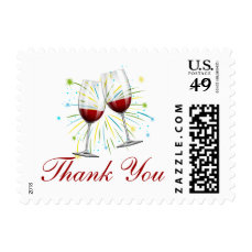 Red Burgundy Thank You Wine Glasses Wedding Party Postage