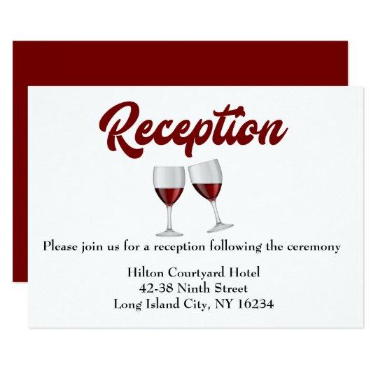 Red Burgundy Wedding Reception Wine Glasses Invitation Zazzle