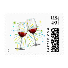 Red Burgundy Wine Glasses Wedding Party Postage