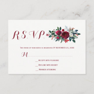 Red burgundy winter peonies floral wedding RSVP