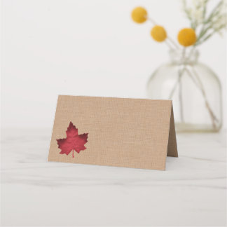 Red Burlap Folded Place Cards