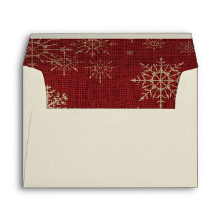 Red Burlap Golden Snowflakes Lined Christmas Envelopes