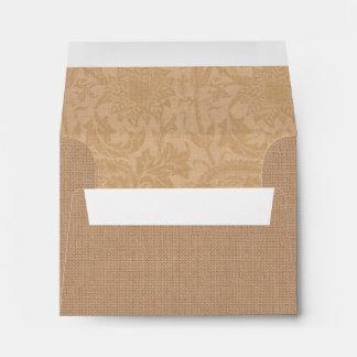 Red Burlap Monogrammed RSVP Envelope
