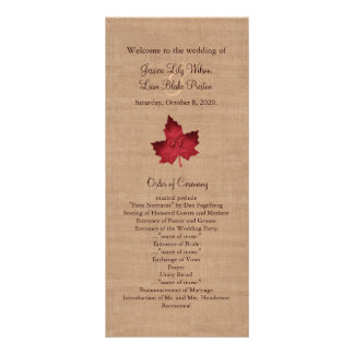 Red Burlap Monogrammed Wedding Program Rack Card Template