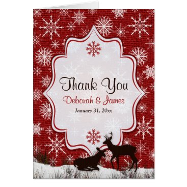 Red Burlap, Snowflakes, Deer PHOTO Thank You Card
