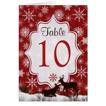 Red Burlap, Snowflakes, Deer Table Number Card