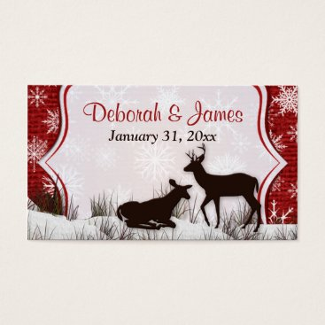 Red Burlap, Snowflakes, Deer Wedding Favor Tag