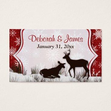 Red Burlap, Snowflakes, Deer Wedding Favor Tag