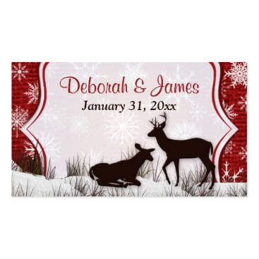 Red Burlap, Snowflakes, Deer Wedding Favor Tag Business Card