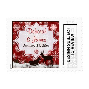 Red Burlap, Snowflakes & Deer Wedding Postage