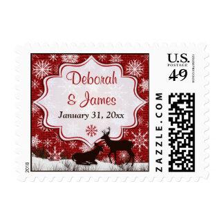 Red Burlap, Snowflakes & Deer Wedding Postage
