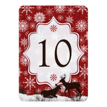 Red Burlap, Snowflakes, Deer Wedding Table Number