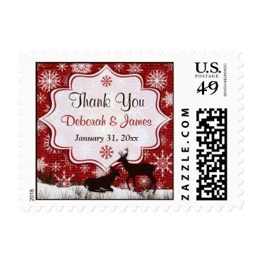 Red Burlap, Snowflakes & Deer Wedding Thank You Stamp