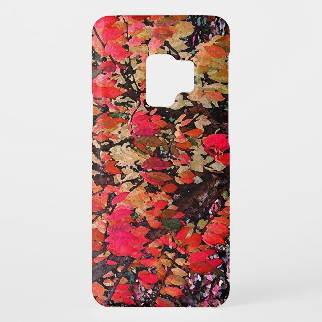 Red Burning Bush Abstract Pattern Galaxy S9 Case