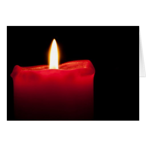 Red burning candle greeting cards