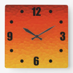 Red Burnt Orange to Gold Ombre Crackle Pattern Square Wall Clock