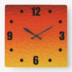 Red Burnt Orange To Gold Ombre Le Pattern Square Wall Clock