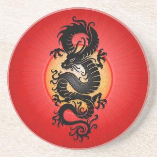 Red Burst Chinese Dragon Coaster