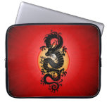 Red Burst Chinese Dragon Laptop Sleeves