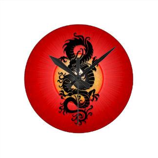 Red Burst Chinese Dragon Round Clock