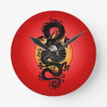 Red Burst Chinese Dragon Wall Clock