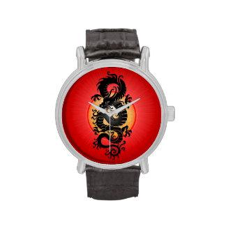 Red Burst Chinese Dragon Wristwatches
