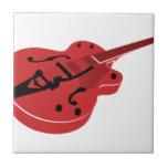 Red Burst Guitar Ceramic Tile