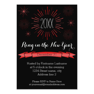 Red Bursts New Year's Eve Party Invitation