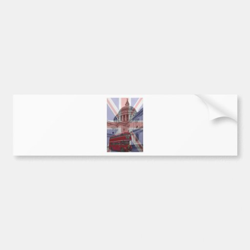 Red Bus and St Pauls Union Jack Flag Bumper Stickers