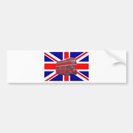 Red Bus and  Union Jack Flag Bumper Sticker