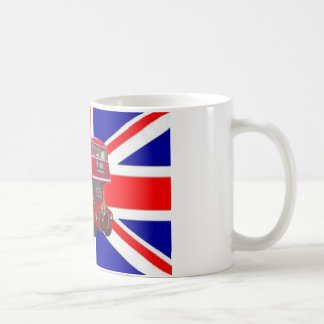 Red Bus and  Union Jack Flag Coffee Mug