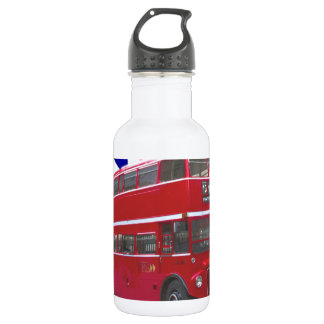 Red Bus and  Union Jack Flag Water Bottle