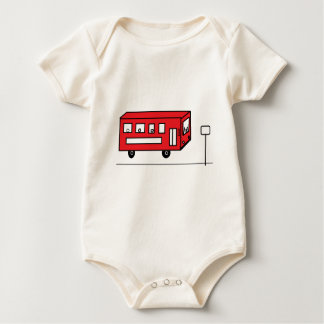 Red Bus Baby Bodysuit