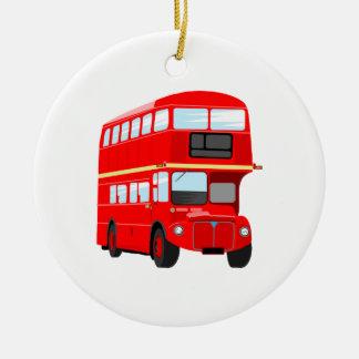 Red Bus Ceramic Ornament