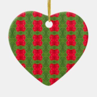 Red Bush Pattern Themed Merchandise Ceramic Ornament