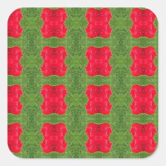 Red Bush Pattern Themed Merchandise Square Sticker