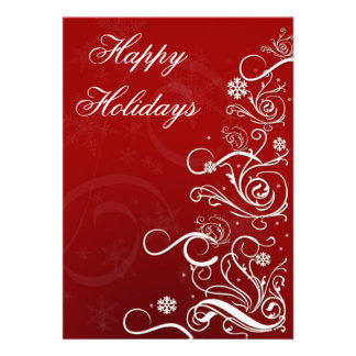 red Business Holiday Greetings Personalized Announcements