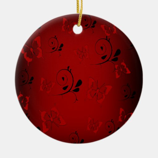 Red Butterfies and Swirls Double-Sided Ceramic Round Christmas Ornament