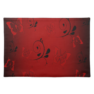 Red Butterfies and Swirls Placemat