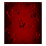 Red Butterfies and Swirls Print