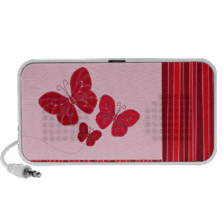 Red butterfies doodle speakers