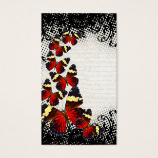 Red butterflies on black lace business card