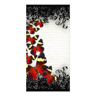 Red butterflies on black lace card