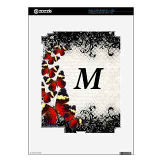 Red butterflies on black lace iPad 2 skins