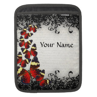 Red butterflies on black lace sleeves for iPads